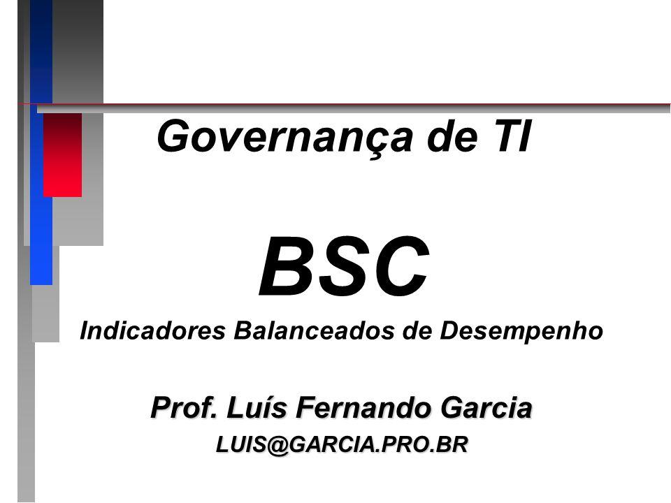 BSC BSC n Instrumento que auxilia o alinhamento de todas as iniciativas de todos os níveis da empresa com os objetivos e estratégias de negócio n GTI = alinhar TI e negócios n BSC = alinhar negócio e negócio (estratégia) n BSC = empresa se conhecer...