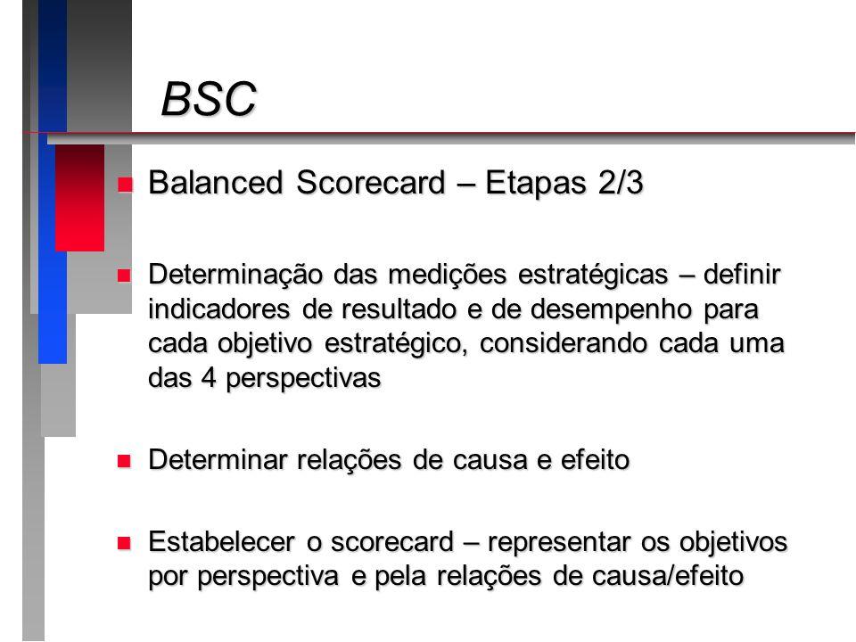 BSC BSC n Balanced Scorecard – Etapas 2/3 n Determinação das medições estratégicas – definir indicadores de resultado e de desempenho para cada objeti