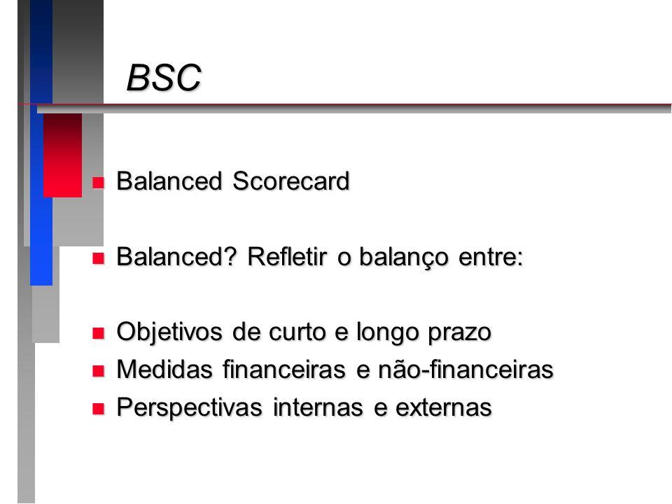 BSC BSC n Balanced Scorecard n Balanced? Refletir o balanço entre: n Objetivos de curto e longo prazo n Medidas financeiras e não-financeiras n Perspe
