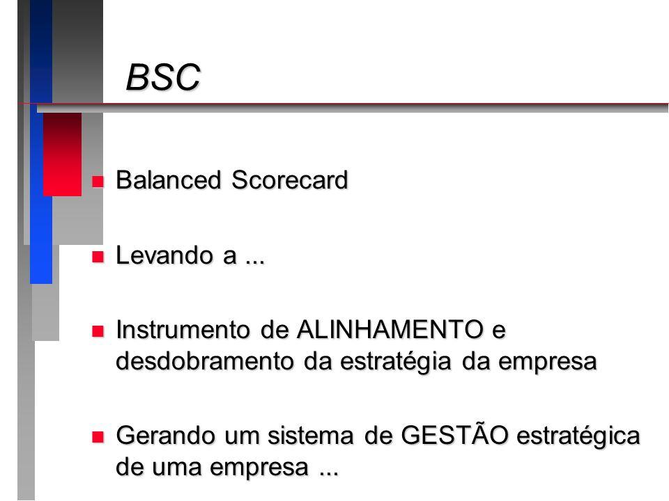 BSC BSC n Balanced Scorecard n Levando a... n Instrumento de ALINHAMENTO e desdobramento da estratégia da empresa n Gerando um sistema de GESTÃO estra