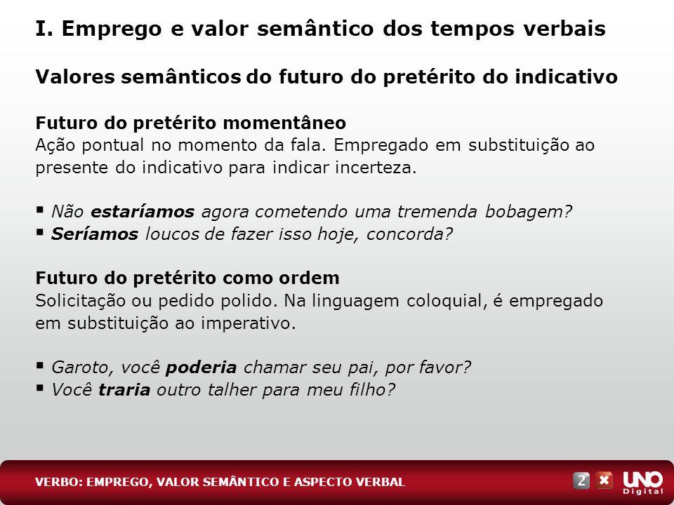 Valores semânticos do futuro do pretérito do indicativo Futuro do pretérito momentâneo Ação pontual no momento da fala. Empregado em substituição ao p