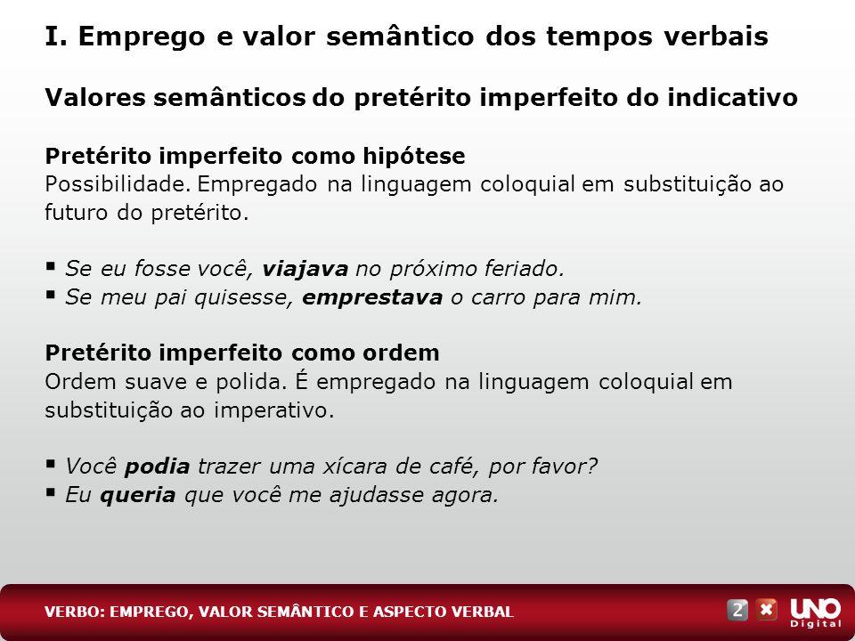 Valores semânticos do pretérito imperfeito do indicativo Pretérito imperfeito como hipótese Possibilidade. Empregado na linguagem coloquial em substit