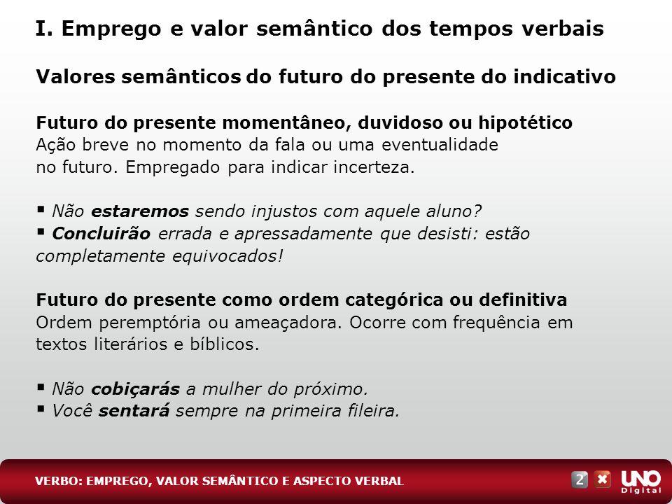 Valores semânticos do futuro do presente do indicativo Futuro do presente momentâneo, duvidoso ou hipotético Ação breve no momento da fala ou uma even