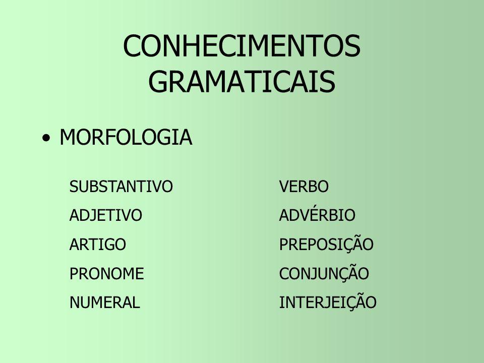 CONHECIMENTOS GRAMATICAIS SINTAXE –Sujeito / Predicado –Complementos Verbais (OD / OI) –Complementos Nominais (CN) –Agente da Passiva –Adjunto Adnomin