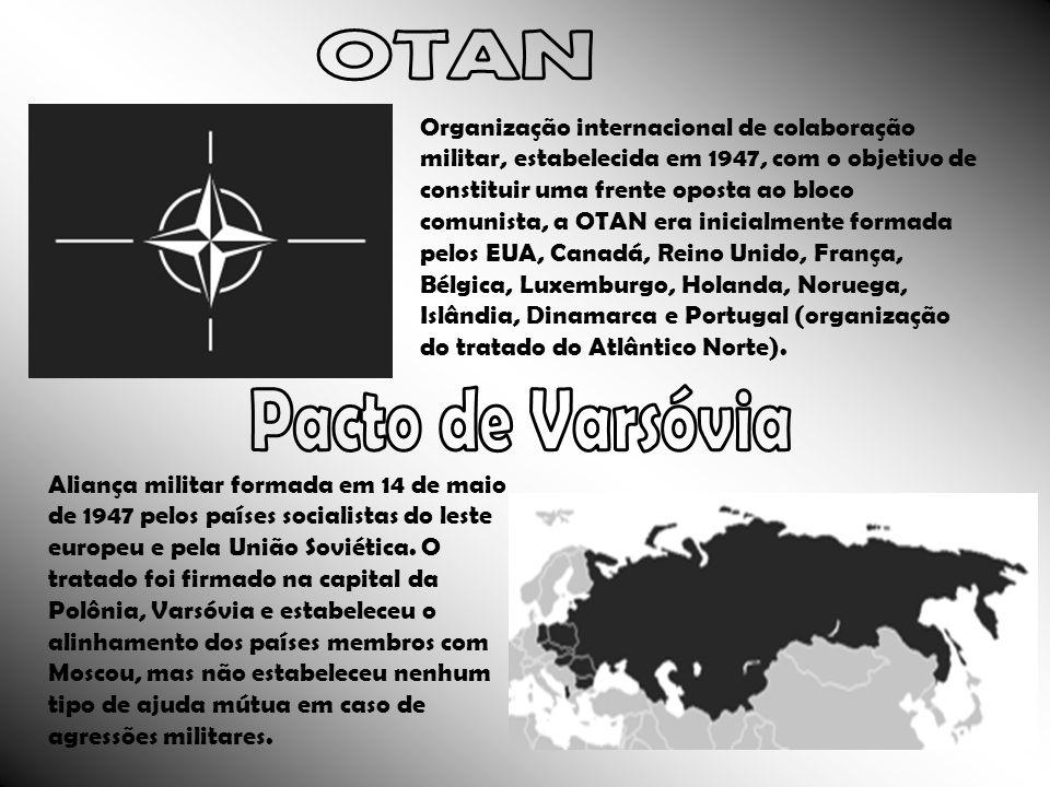 Organização internacional de colaboração militar, estabelecida em 1947, com o objetivo de constituir uma frente oposta ao bloco comunista, a OTAN era