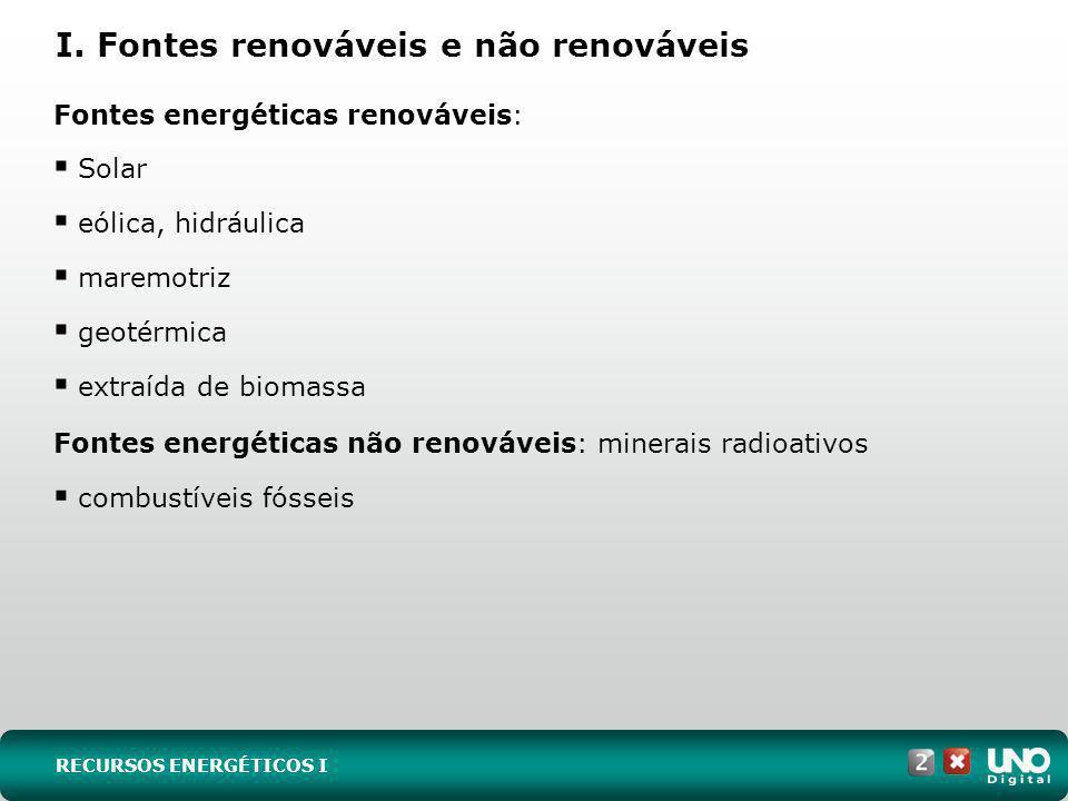 I. Fontes renováveis e não renováveis RECURSOS ENERGÉTICOS I Fontes energéticas renováveis: Solar eólica, hidráulica maremotriz geotérmica extraída de