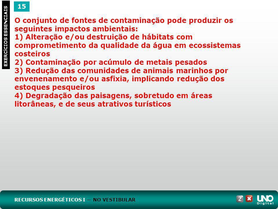 15 EXERC Í CIOS ESSENCIAIS O conjunto de fontes de contaminação pode produzir os seguintes impactos ambientais: 1) Alteração e/ou destruição de hábita