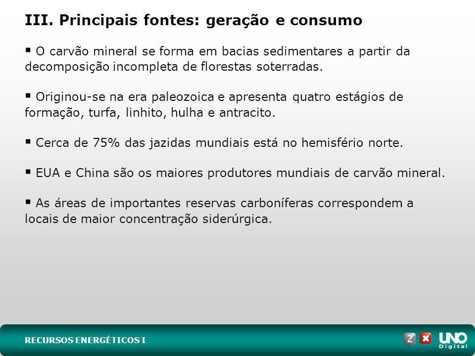 III. Principais fontes: geração e consumo O carvão mineral se forma em bacias sedimentares a partir da decomposição incompleta de florestas soterradas