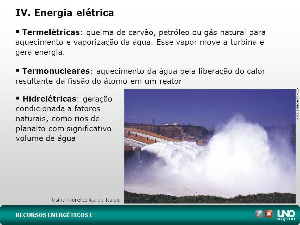 IV. Energia elétrica Termelétricas: queima de carvão, petróleo ou gás natural para aquecimento e vaporização da água. Esse vapor move a turbina e gera
