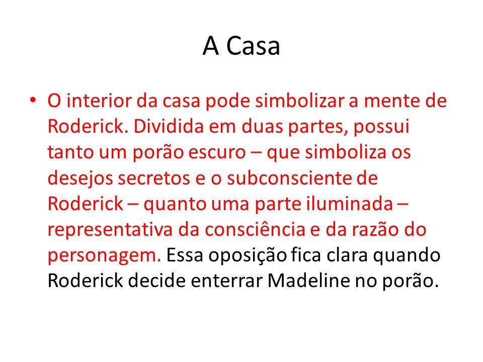 A Casa O interior da casa pode simbolizar a mente de Roderick. Dividida em duas partes, possui tanto um porão escuro – que simboliza os desejos secret