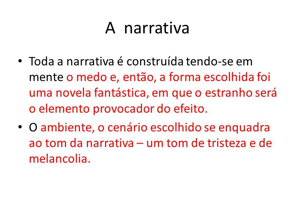 A narrativa Toda a narrativa é construída tendo-se em mente o medo e, então, a forma escolhida foi uma novela fantástica, em que o estranho será o ele