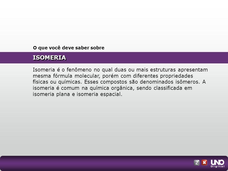 ISOMERIA Isômeros: dois ou mais compostos diferentes que apresentam a mesma fórmula molecular.