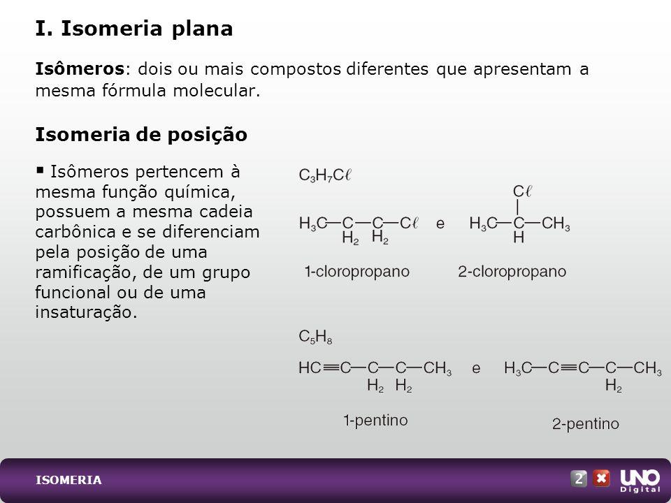 ISOMERIA Isômeros: dois ou mais compostos diferentes que apresentam a mesma fórmula molecular. Isomeria de posição I. Isomeria plana Isômeros pertence