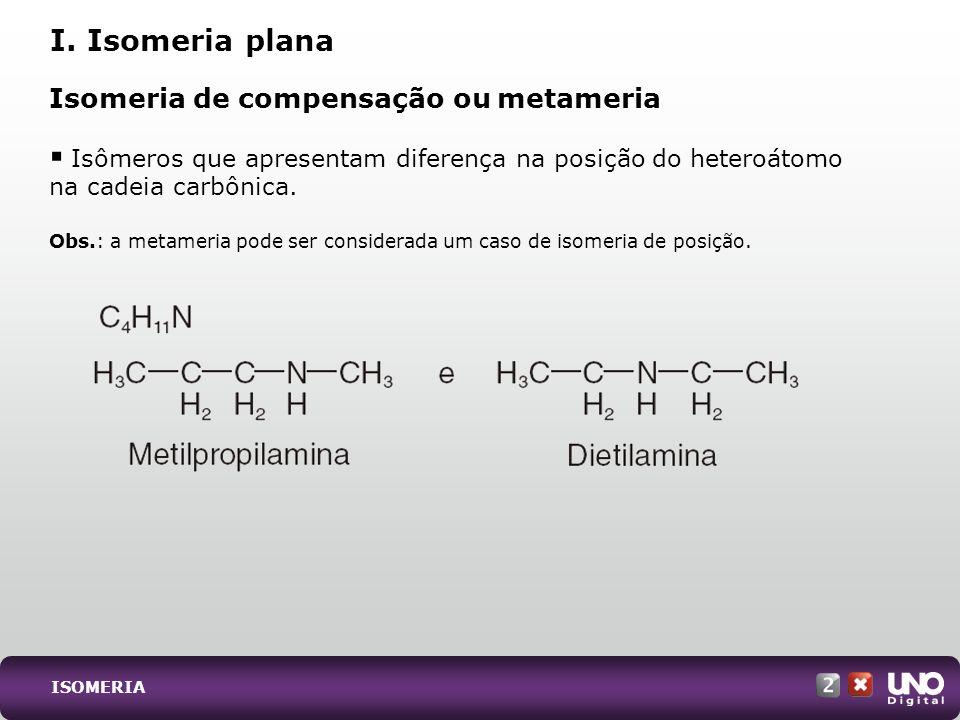 Isomeria de compensação ou metameria Isômeros que apresentam diferença na posição do heteroátomo na cadeia carbônica. Obs.: a metameria pode ser consi