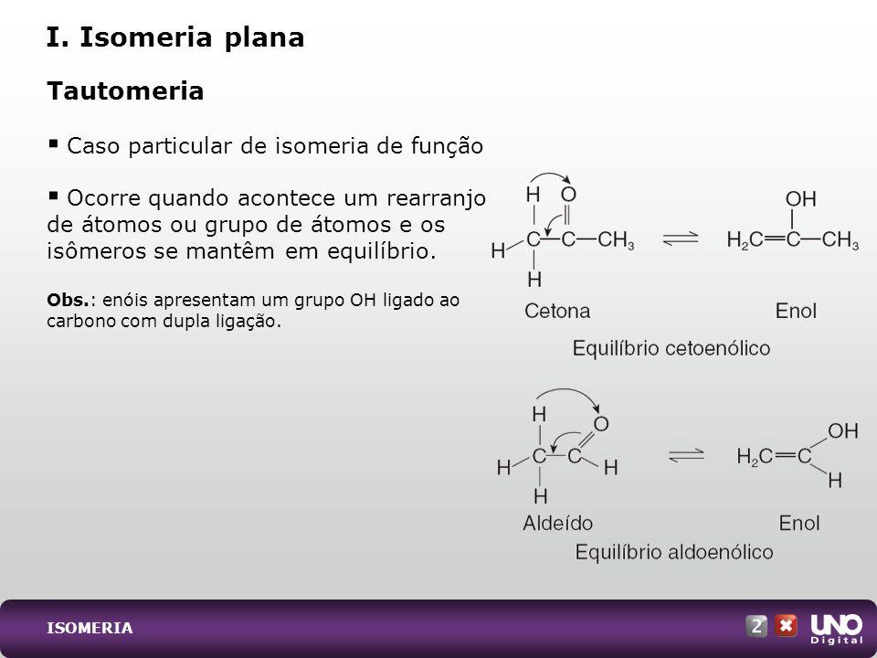 Tautomeria Caso particular de isomeria de função Ocorre quando acontece um rearranjo de átomos ou grupo de átomos e os isômeros se mantêm em equilíbri