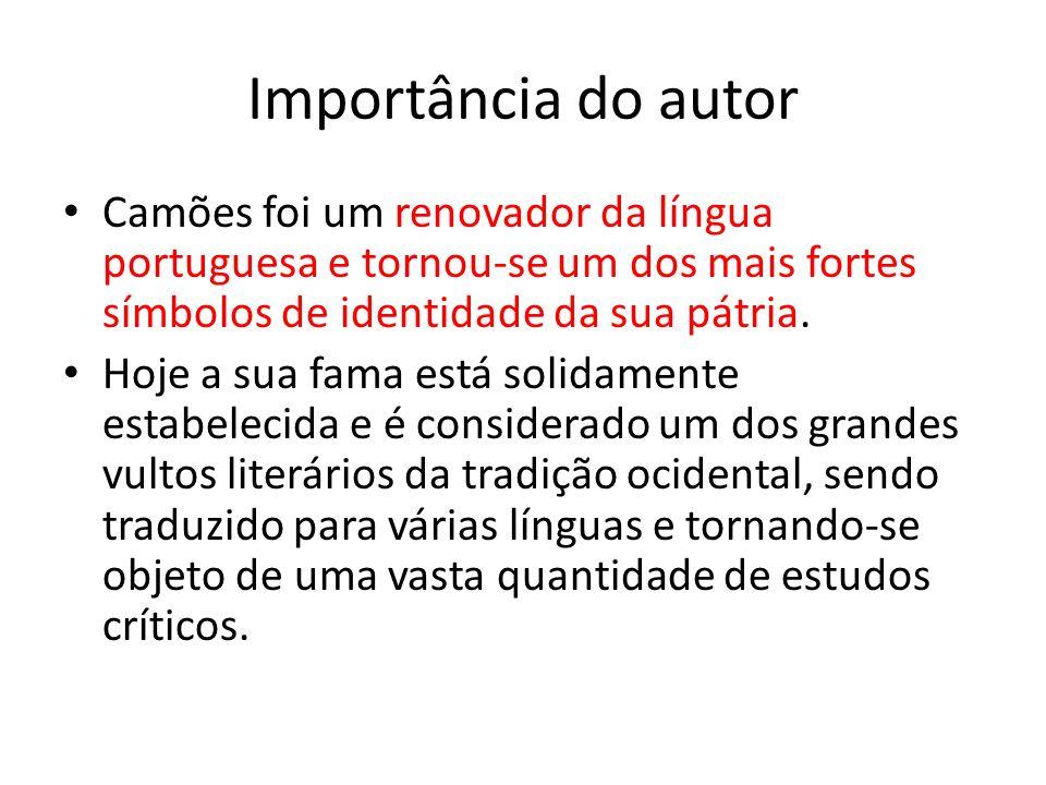 Importância do autor Camões foi um renovador da língua portuguesa e tornou-se um dos mais fortes símbolos de identidade da sua pátria. Hoje a sua fama