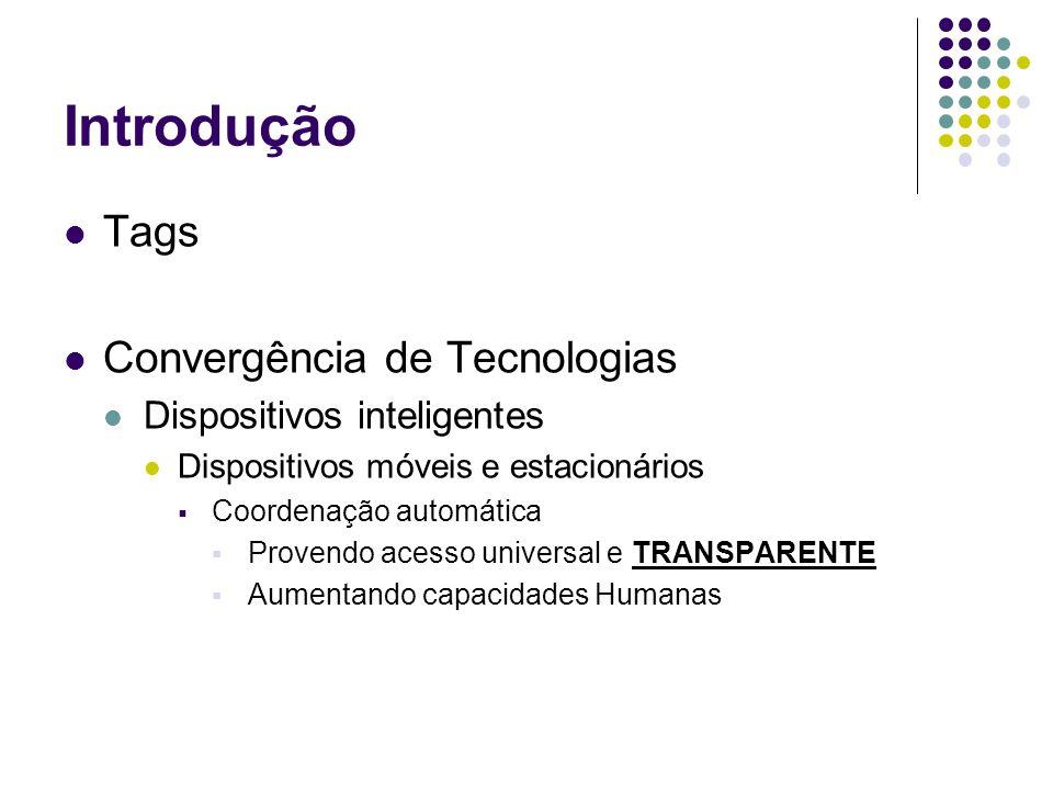 Introdução Tags Convergência de Tecnologias Dispositivos inteligentes Dispositivos móveis e estacionários Coordenação automática Provendo acesso universal e TRANSPARENTE Aumentando capacidades Humanas