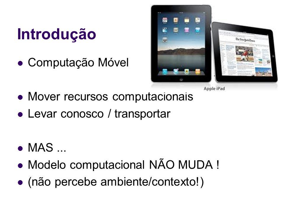 Introdução Computação Móvel Mover recursos computacionais Levar conosco / transportar MAS...