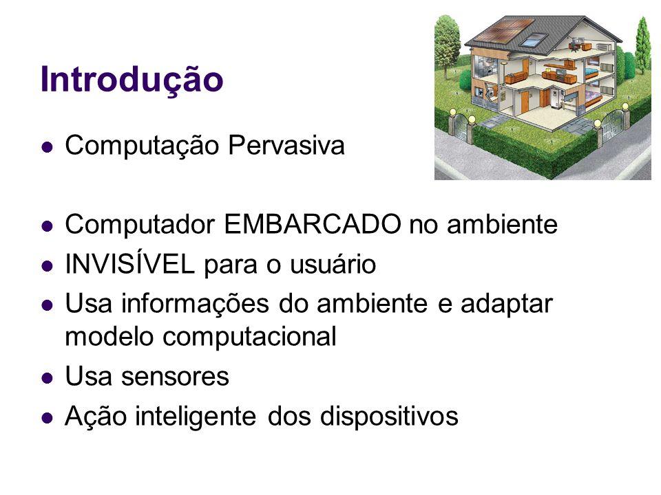 Introdução Computação Pervasiva Computador EMBARCADO no ambiente INVISÍVEL para o usuário Usa informações do ambiente e adaptar modelo computacional Usa sensores Ação inteligente dos dispositivos