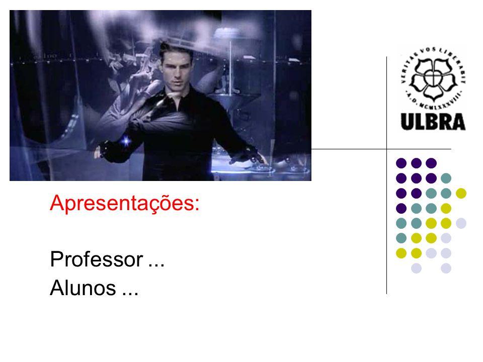 Apresentações: Professor... Alunos...