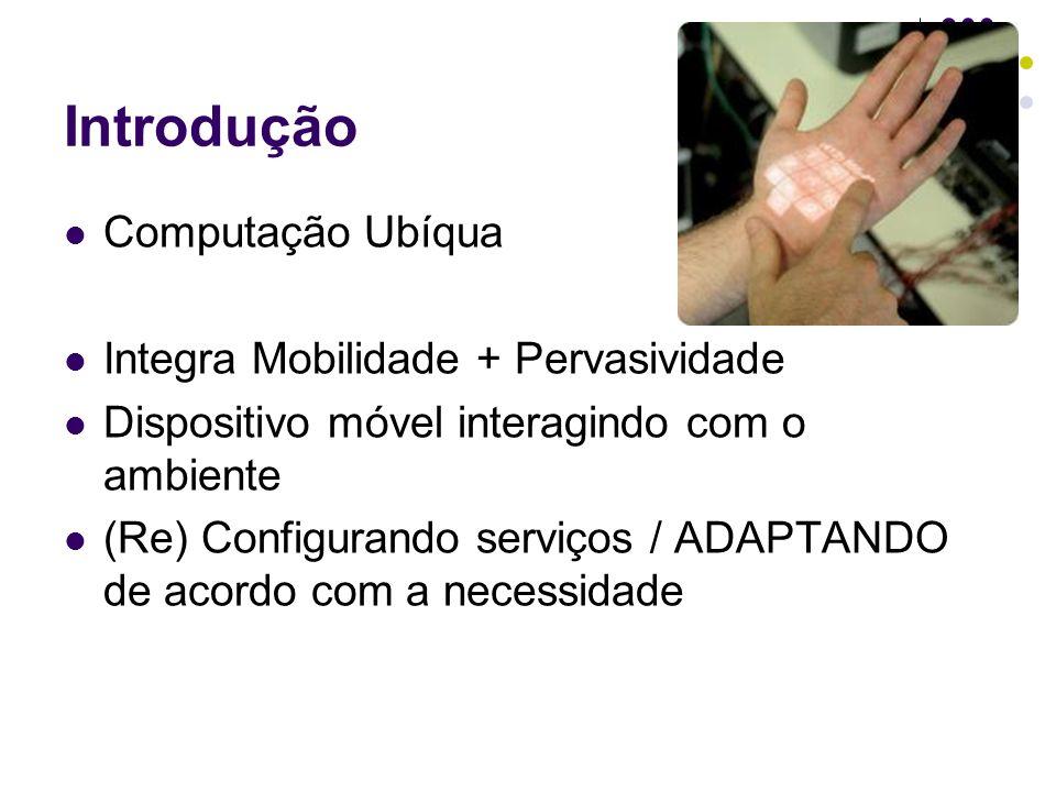 Introdução Computação Ubíqua Integra Mobilidade + Pervasividade Dispositivo móvel interagindo com o ambiente (Re) Configurando serviços / ADAPTANDO de acordo com a necessidade