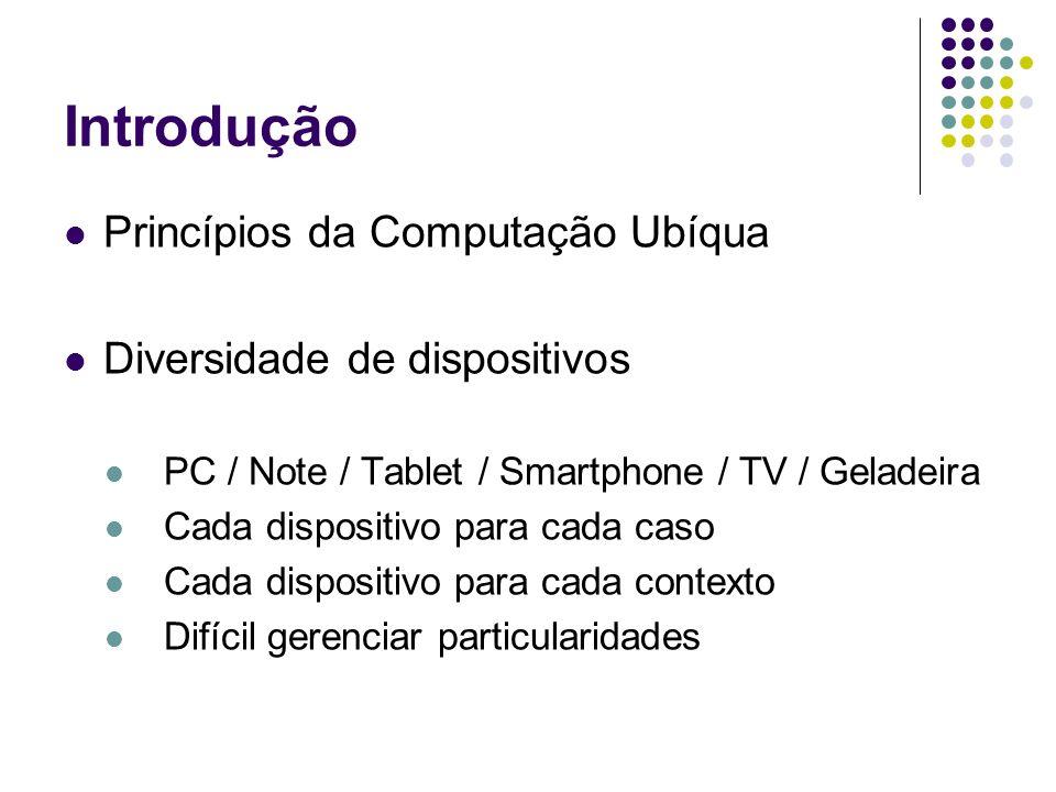 Princípios da Computação Ubíqua Diversidade de dispositivos PC / Note / Tablet / Smartphone / TV / Geladeira Cada dispositivo para cada caso Cada dispositivo para cada contexto Difícil gerenciar particularidades