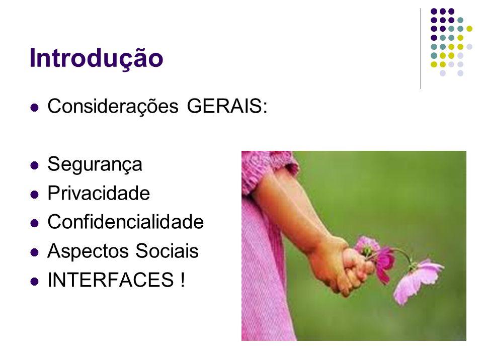 Introdução Considerações GERAIS: Segurança Privacidade Confidencialidade Aspectos Sociais INTERFACES !