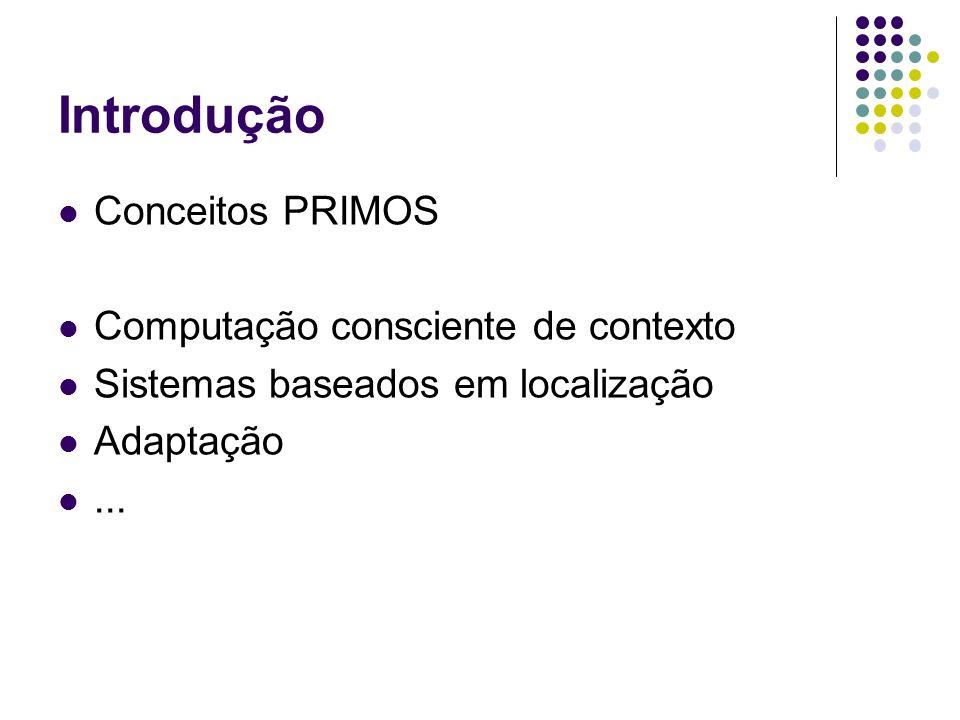 Introdução Conceitos PRIMOS Computação consciente de contexto Sistemas baseados em localização Adaptação...