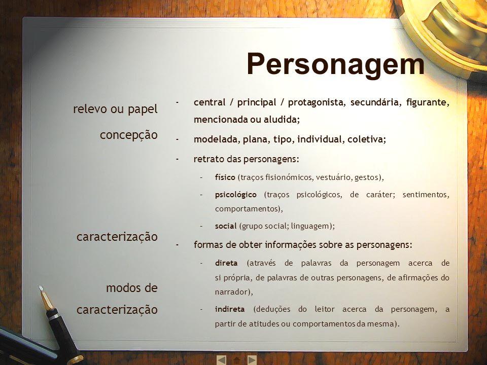 central / principal / protagonista, secundária, figurante, mencionada ou aludida; modelada, plana, tipo, individual, coletiva; retrato das personagens
