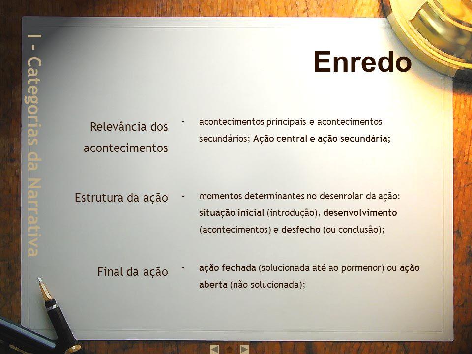 ordem real dos acontecimentos / ordem textual dos acontecimentos: encadeamento (ordenação cronológica dos acontecimentos), alternância (entrelaçamento das sequências e/ou ações), encaixe (introdução de uma sequência e/ou ação noutra).