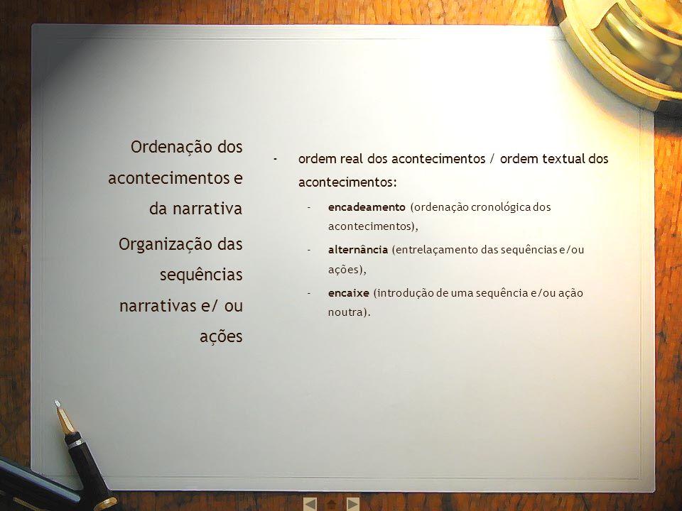 ordem real dos acontecimentos / ordem textual dos acontecimentos: encadeamento (ordenação cronológica dos acontecimentos), alternância (entrelaçamento