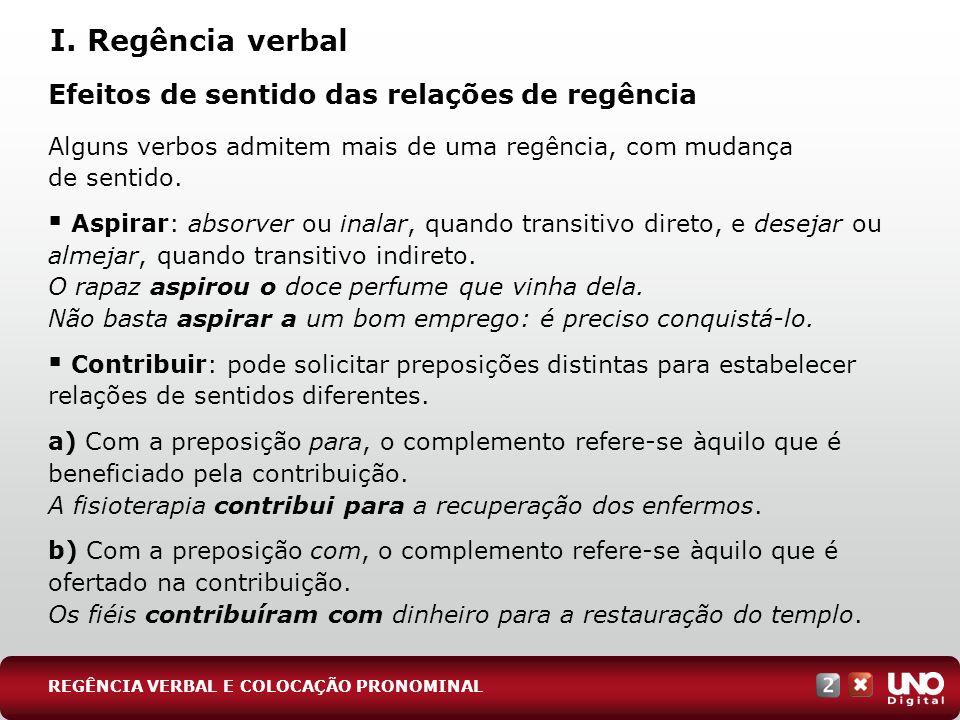 Efeitos de sentido das relações de regência Alguns verbos admitem mais de uma regência, com mudança de sentido. Aspirar: absorver ou inalar, quando tr