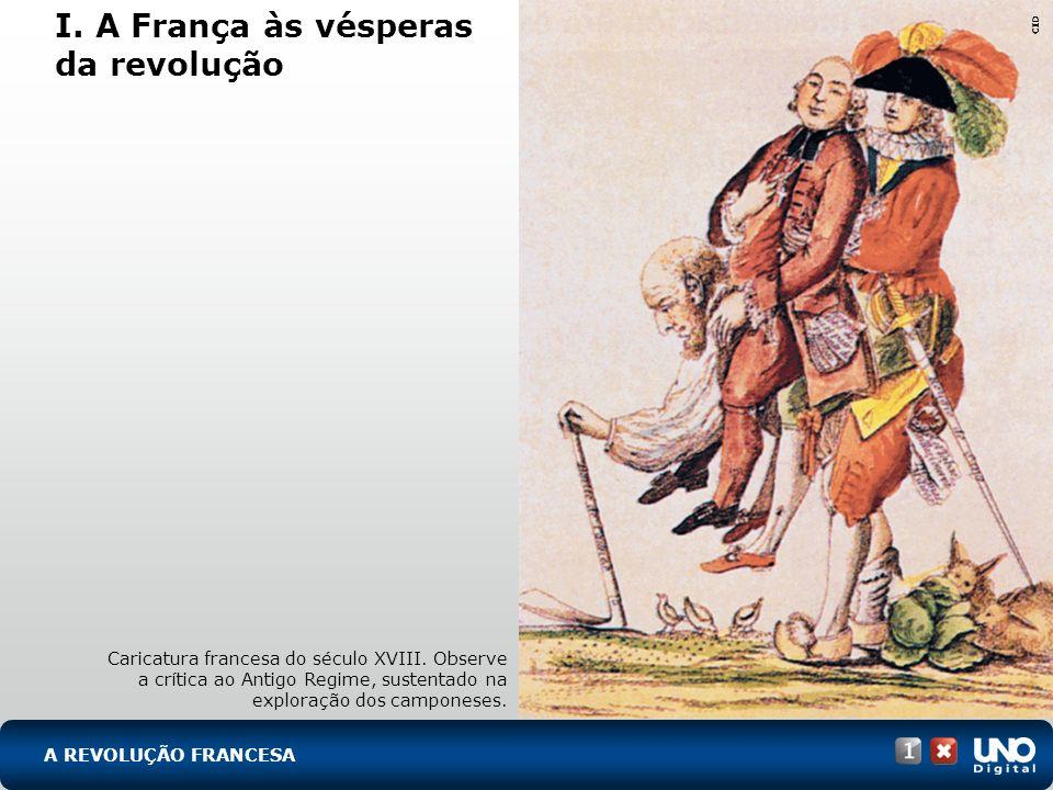 A REVOLUÇÃO FRANCESA I. A França às vésperas da revolução Caricatura francesa do século XVIII. Observe a crítica ao Antigo Regime, sustentado na explo