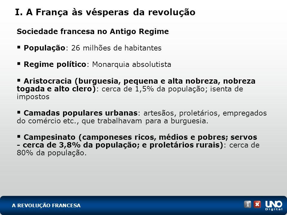 Sociedade francesa no Antigo Regime População: 26 milhões de habitantes Regime político: Monarquia absolutista Aristocracia (burguesia, pequena e alta