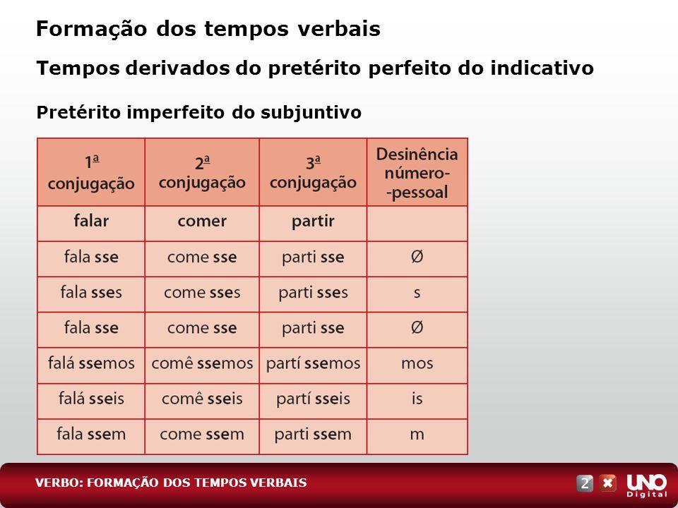 Tempos derivados do pretérito perfeito do indicativo Pretérito imperfeito do subjuntivo Formação dos tempos verbais VERBO: FORMAÇÃO DOS TEMPOS VERBAIS