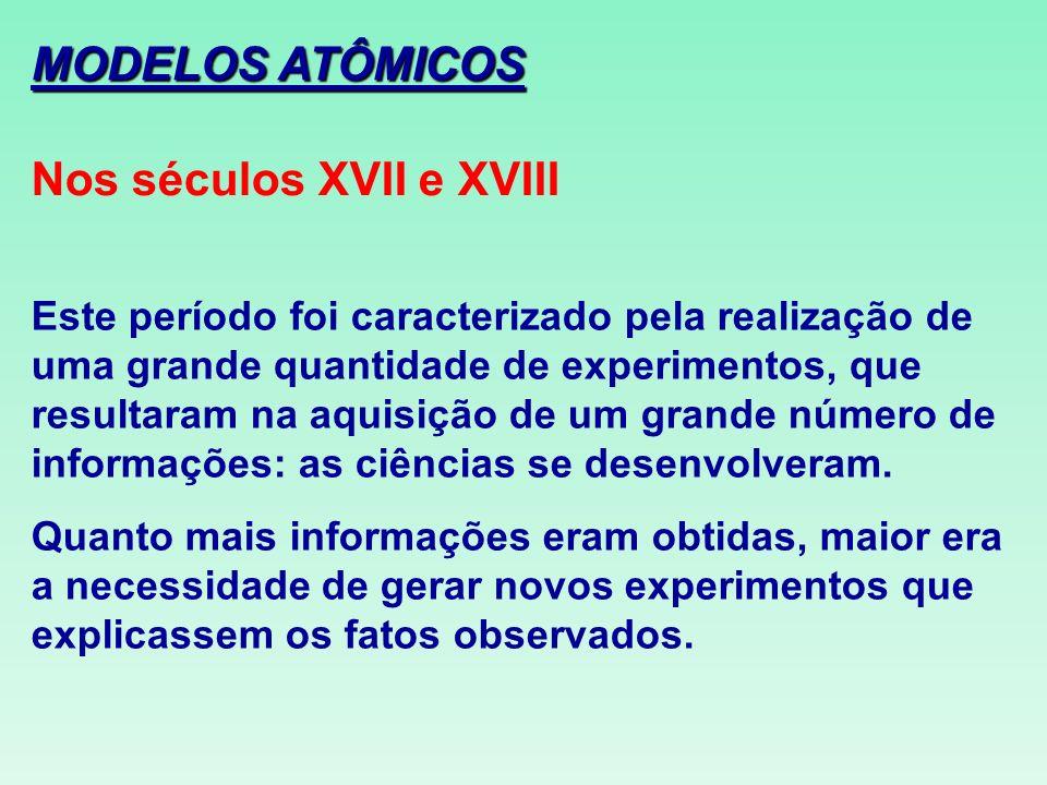MODELOS ATÔMICOS Nos séculos XVII e XVIII Este período foi caracterizado pela realização de uma grande quantidade de experimentos, que resultaram na a