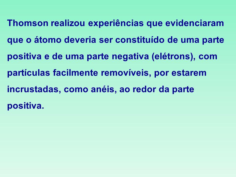 Thomson realizou experiências que evidenciaram que o átomo deveria ser constituído de uma parte positiva e de uma parte negativa (elétrons), com partí