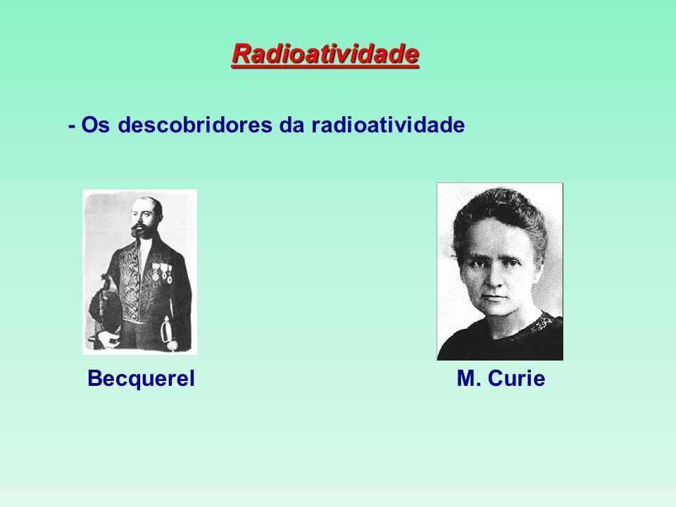 Radioatividade BecquerelM. Curie - Os descobridores da radioatividade