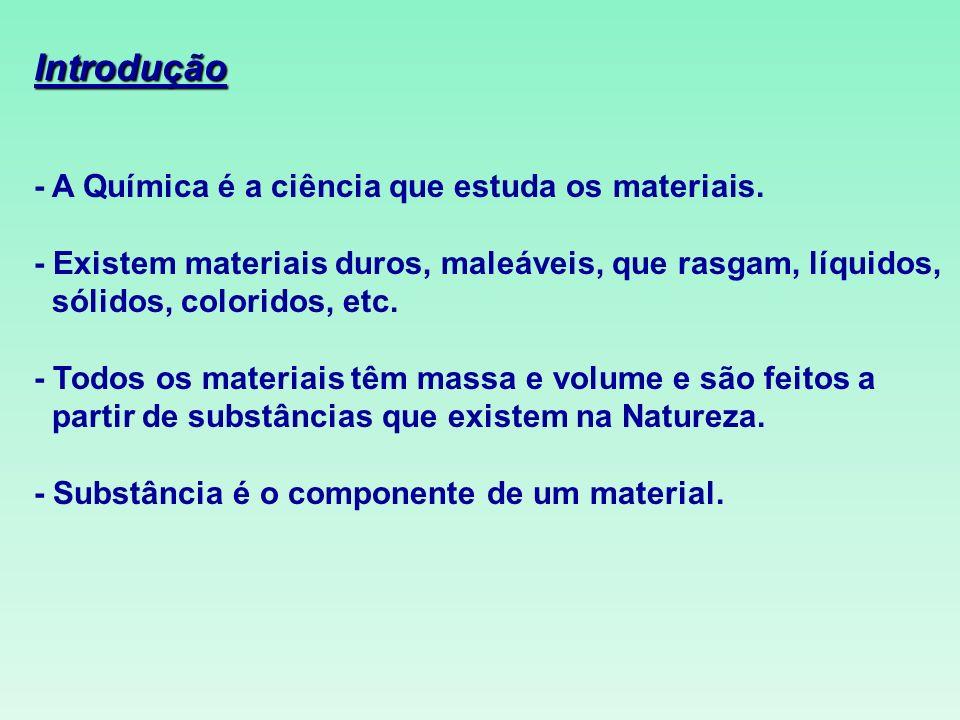 Introdução - A Química é a ciência que estuda os materiais. - Existem materiais duros, maleáveis, que rasgam, líquidos, sólidos, coloridos, etc. - Tod