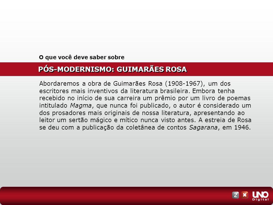 PÓS-MODERNISMO: GUIMARÃES ROSA O que você deve saber sobre Abordaremos a obra de Guimarães Rosa (1908-1967), um dos escritores mais inventivos da lite