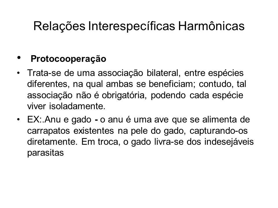 Relações Interespecíficas Harmônicas Protocooperação Trata-se de uma associação bilateral, entre espécies diferentes, na qual ambas se beneficiam; con