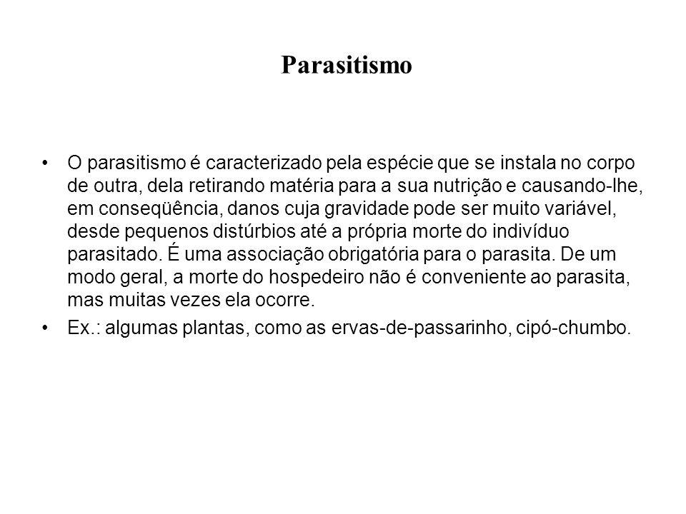 Parasitismo O parasitismo é caracterizado pela espécie que se instala no corpo de outra, dela retirando matéria para a sua nutrição e causando-lhe, em