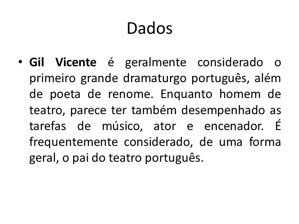 Dados Gil Vicente é geralmente considerado o primeiro grande dramaturgo português, além de poeta de renome. Enquanto homem de teatro, parece ter també