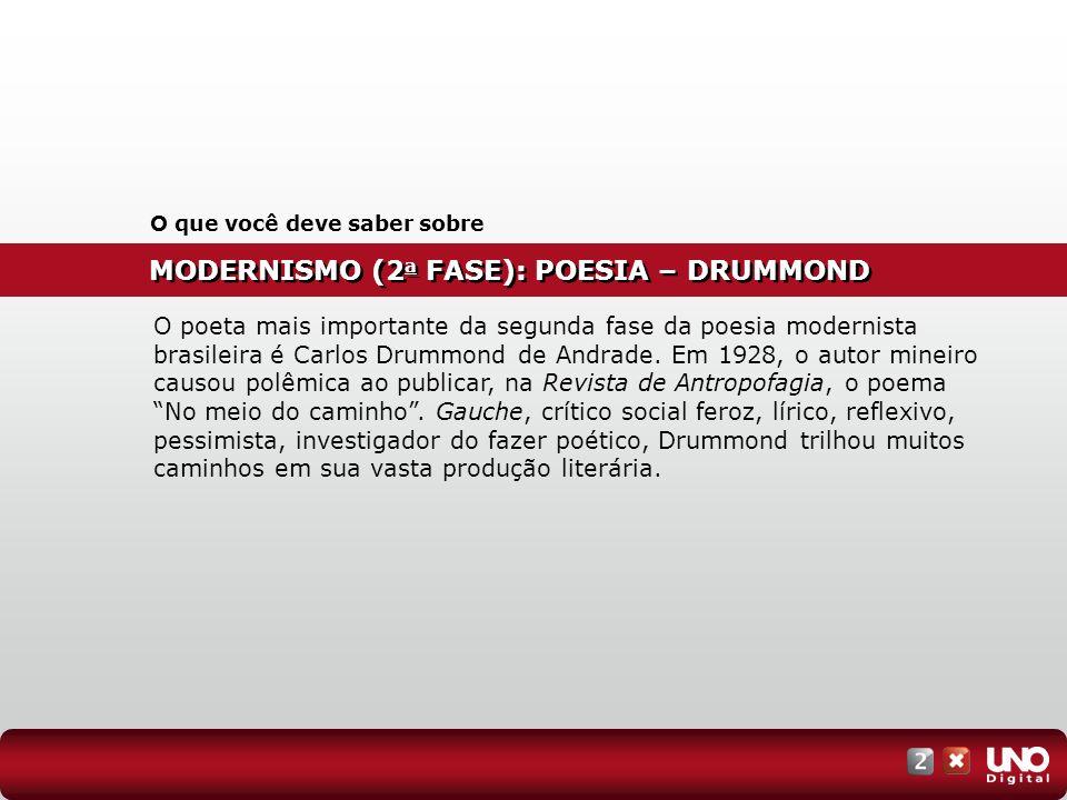 MODERNISMO (2 a FASE): POESIA – DRUMMOND O que você deve saber sobre O poeta mais importante da segunda fase da poesia modernista brasileira é Carlos