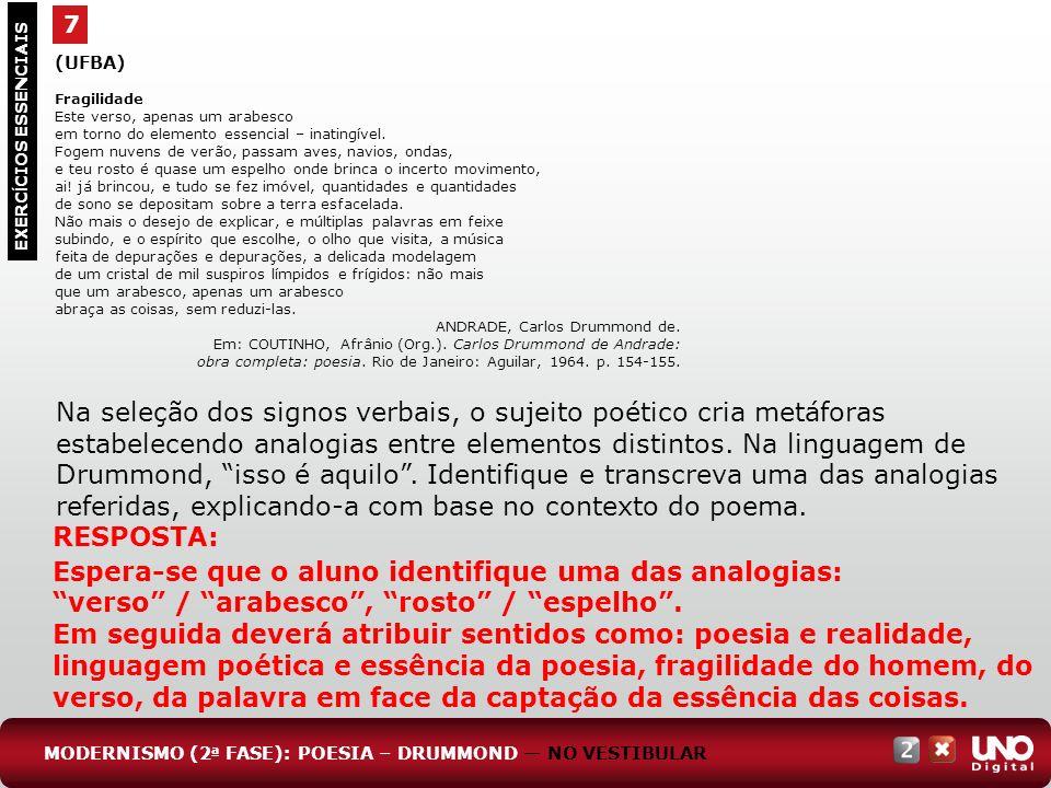 7 EXERC Í CIOS ESSENCIAIS RESPOSTA: Espera-se que o aluno identifique uma das analogias: verso / arabesco, rosto / espelho. Em seguida deverá atribuir