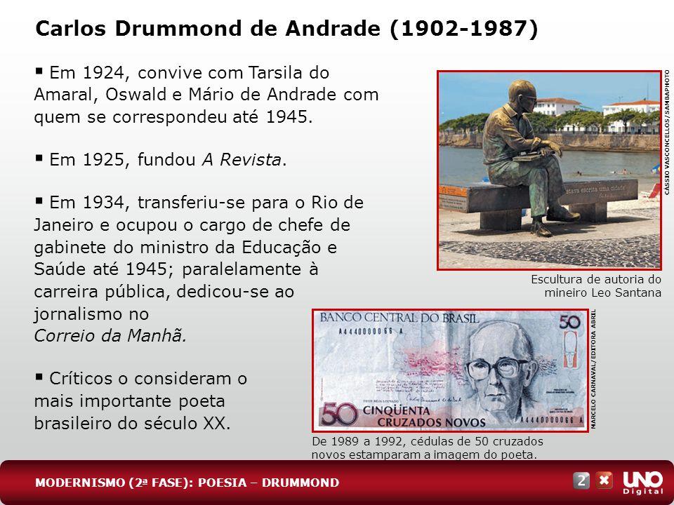 Carlos Drummond de Andrade (1902-1987) Em 1924, convive com Tarsila do Amaral, Oswald e Mário de Andrade com quem se correspondeu até 1945. Em 1925, f