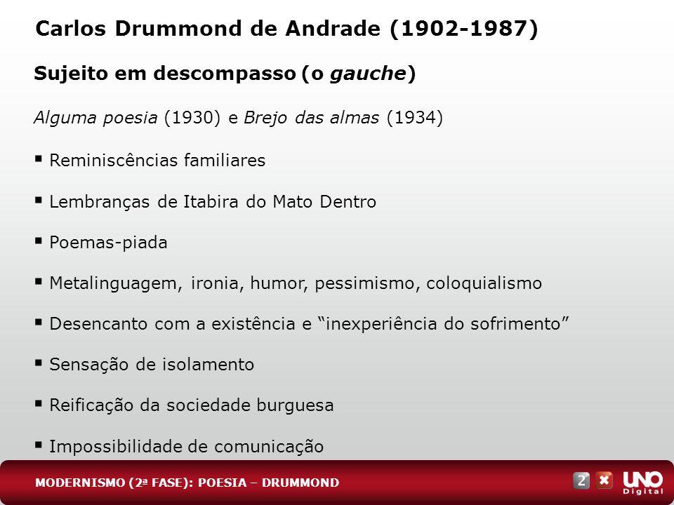 Carlos Drummond de Andrade (1902-1987) Sujeito em descompasso (o gauche) Alguma poesia (1930) e Brejo das almas (1934) Reminiscências familiares Lembr