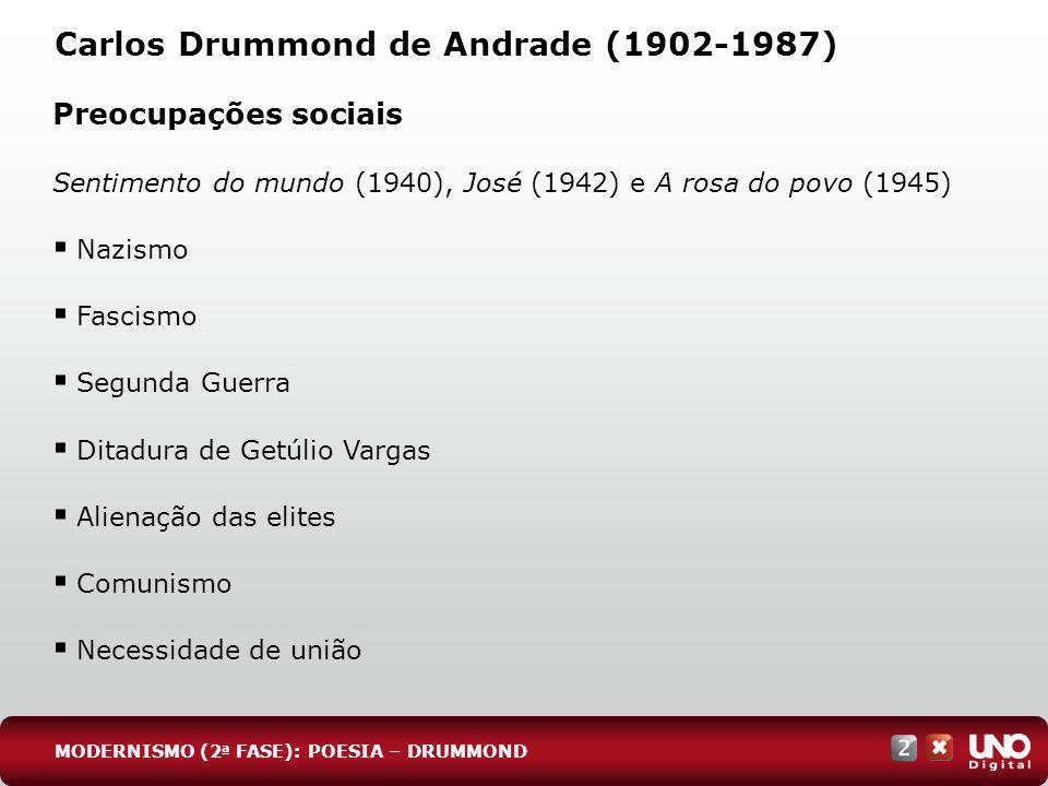 Carlos Drummond de Andrade (1902-1987) Preocupações sociais Sentimento do mundo (1940), José (1942) e A rosa do povo (1945) Nazismo Fascismo Segunda G