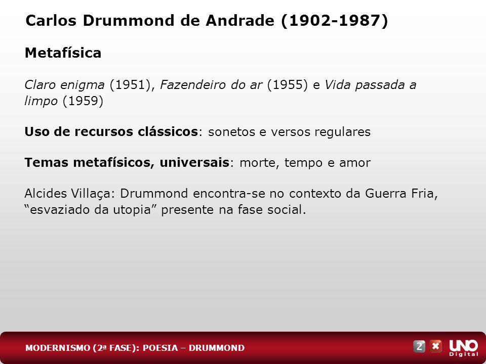 Carlos Drummond de Andrade (1902-1987) Metafísica Claro enigma (1951), Fazendeiro do ar (1955) e Vida passada a limpo (1959) Uso de recursos clássicos