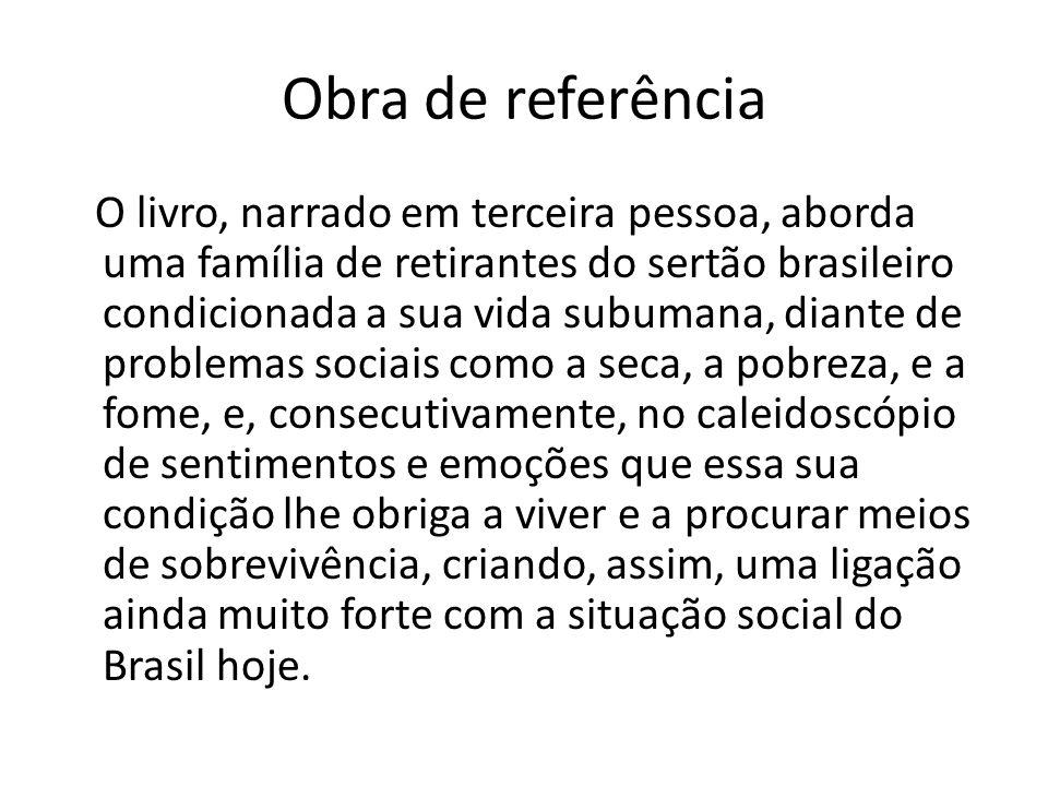 Obra de referência O livro, narrado em terceira pessoa, aborda uma família de retirantes do sertão brasileiro condicionada a sua vida subumana, diante